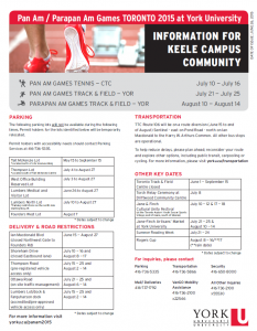York U Information for the Community during the 2015 Games